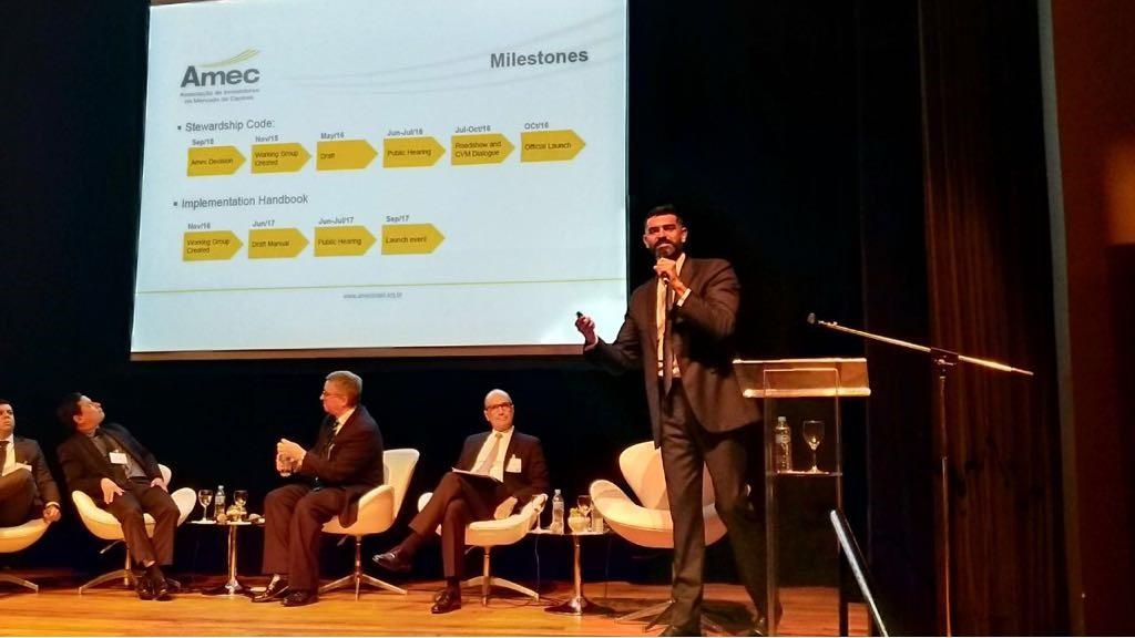 Fernando Tendolini, vice-presidente da Amec, durante o UK Green Finance Summit, em São Paulo